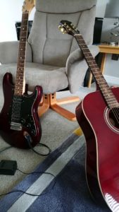Fender stratocaster HH and Epiphone acoustic guitar